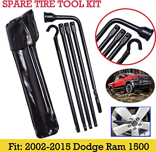 Bowoshen Spare Tire Tool Kit with Storage Case for 2002-15 Dodge Ram 1500 Truck Lug Wrench Extension Piece Jack Hook Extension, US Stock