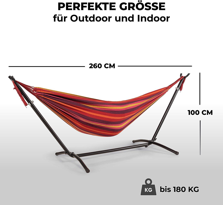 Hamac int/érieur et ext/érieur en coton pour jusqu/à 180 kg Vert et rouge WOMA Hamac avec armature pour 2 personnes en 5 couleurs Surface de couchage 160 x 241 cm