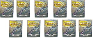 10 Packs Dragon Shield Classic Clear Standard Size 100 ct Card Sleeves Display Case
