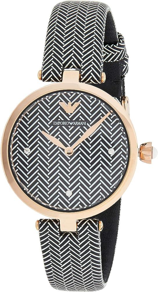 Emporio armani, orologio per donna,cassa  in acciaio inossidabile, e cinturino in pelle AR11237