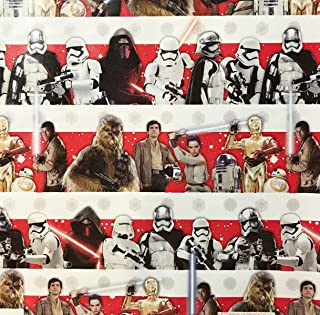Star Wars Stripes Wrapping Paper Gift Wrap - Chewbacca, Kylo Ren, R2D2, C3PO (3.33 Feet Wide -- 40 Square Feet)
