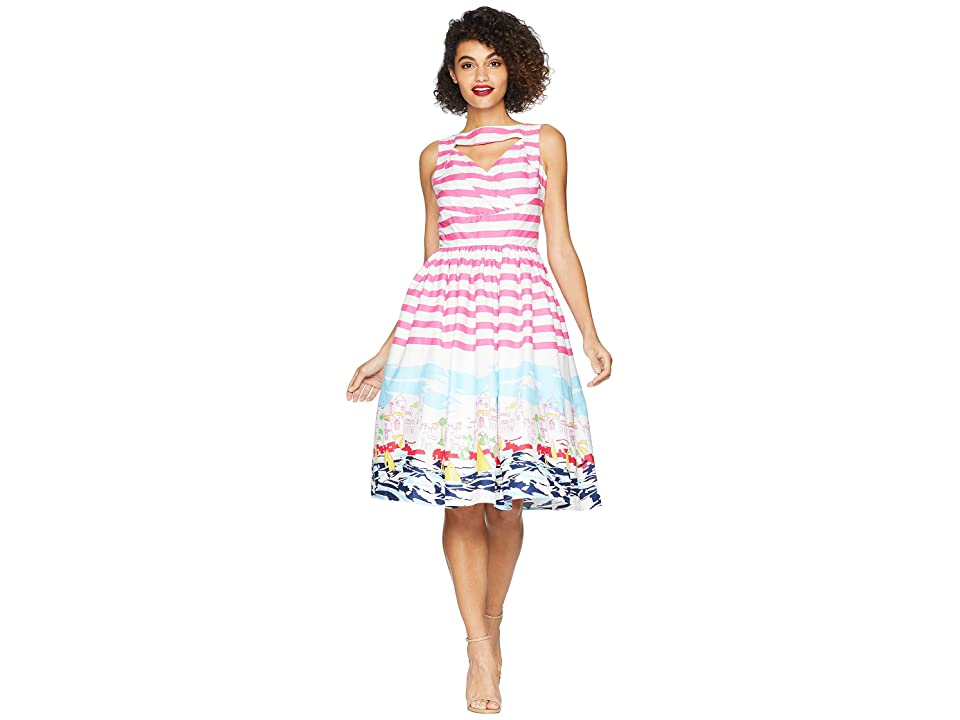 Unique Vintage Shelly Swing Dress (Pink/White/Seaside Print) Women