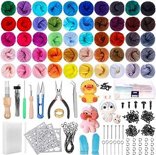 Needle Felting Kit, Shynek 460 Pack Needle Felting Supplies Kit Includes 50 Colors Wool Roving and Felt Needles Tools for ...