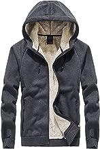Flygo Men's Classic Sherpa Lined Full Zip Up Hoodies Sweatshirt Jacket Outwear
