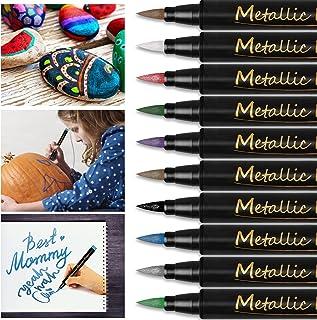 Marqueurs Metalliques de 10 Couleur Peinture Rupestre, Marqueur Métallique Feutres Paillettes Feutre Metallique pour Scrap...