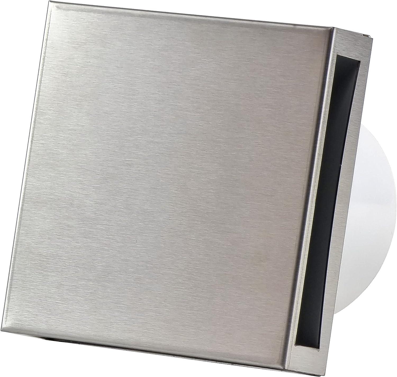 Ventilador de baño de 100 mm de diámetro con temporizador – con frontal de acero inoxidable – Ventilador de pared para baño o cocina silencioso