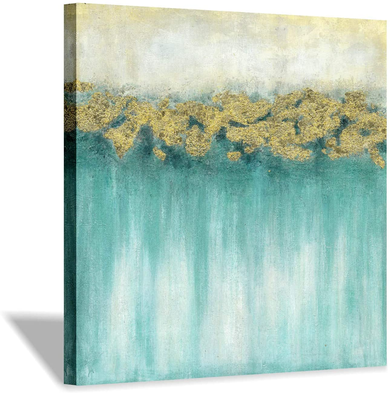 Teal Abstract Canvas Wall Art: Nature Green Lake Artwork Painting with Gold Foils Rustic Textured Art Picture for Living Room(28'' x 28'' x 1 Panel)