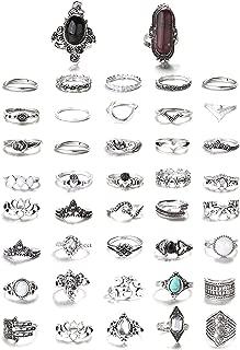FIBO STEEL 9-101 Pcs Vintage Knuckle Rings for Women Stackable Midi Finger Ring Set