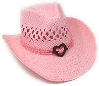 Boho Hip Cowboy Hat with Heart Concho, Natural Toyo Straw, Shapeable Brim