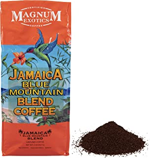Jamaican Blue Mountain Coffee Blend, Ground - Medium Roast, Fresh Strong Arabica Coffee - Rich And Smooth Flavor - Magnum Exotics, 2 Lb Bag