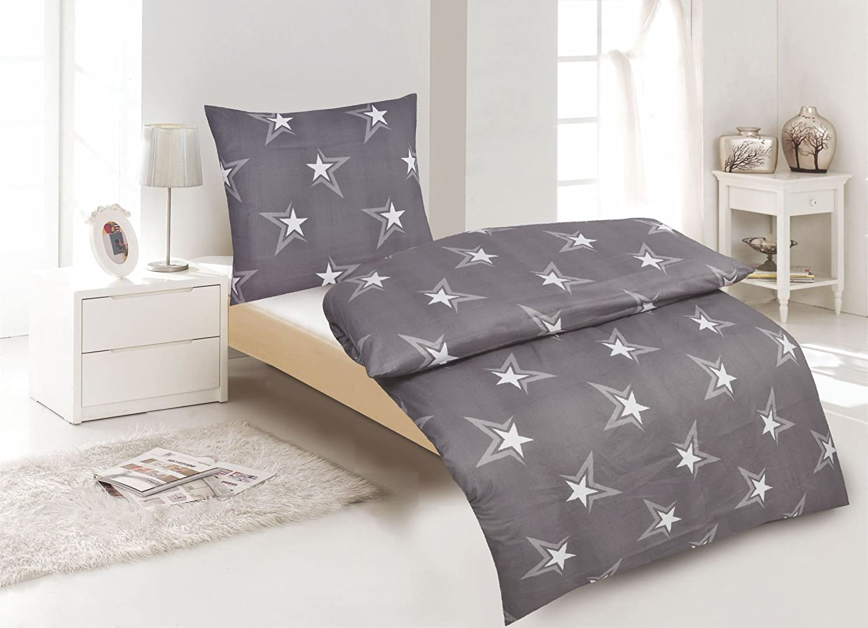 4Tlg Bettwäsche Bettwäsche Bettwäsche Baumwolle Renforce Sterne Grau 135x200 mit Reißverschluss B01G5SWFMG 112f3d