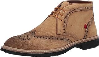 حذاء برقبة للكاحل من الجلد الفاخر للرجال من مارك جوزيف نيويورك بتفاصيل وينج تيب
