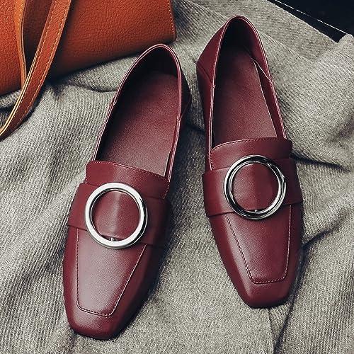 YTTY British Pure Couleur Chaussures Profonde Bouche Tête avec Le Milieu avec Une Seule Chaussure Femme Boucle Noir Vin Rouge 38