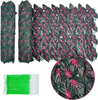 """Adust 2 Pack 118"""" x 20"""" Artificial Red Leaf Privacy Fence Screen with 100 X Zip Ties, Decorative Fence Screen, Vine Decora..."""