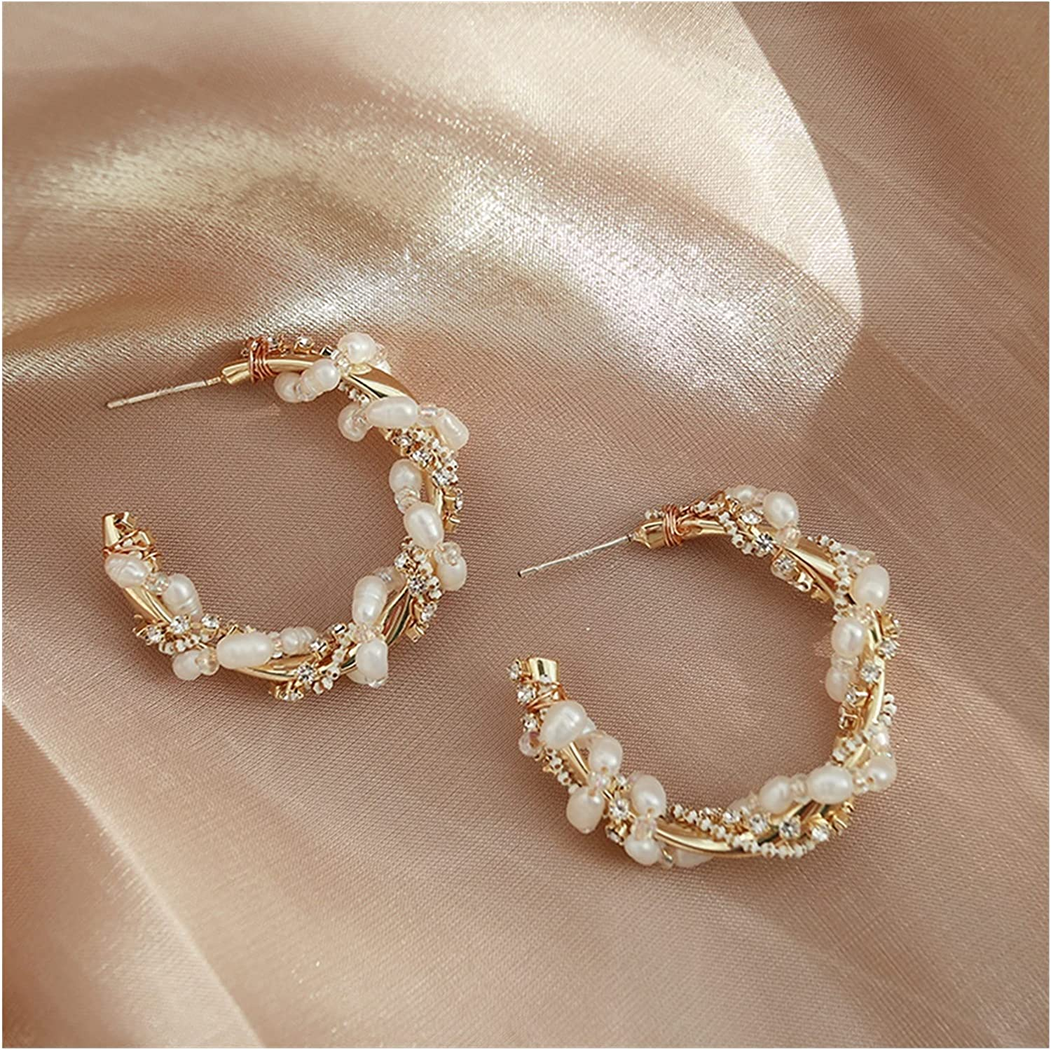 LWXFXBH Heavy Industry Challenge the lowest price of Japan ☆ Hand-Wound Fashion Rare Pearl Trendy Earrings