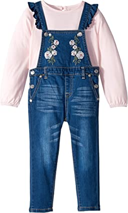 Two-Piece Set Slub Knit Jersey Long Sleeve Top and Medium Wash Denim Overall (Toddler)