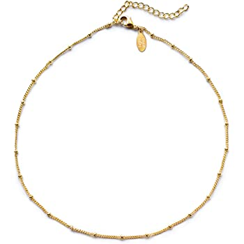 Benevolence LA Choker Necklace Gold Necklace for Women | 14k Gold Dipped Satellite Beaded Curb Chain Gold Choker Layering Womens Necklaces Simple Chokers Celebrity Endorsed