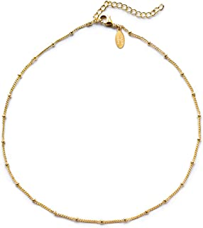 Benevolence LA Choker Necklace - Gold Necklace for Women or White Gold 14k Gold Dipped Satellite Beaded Curb Ball Chain Gold Choker Layering Womens Necklaces Simple Chokers Celebrity Endorsed