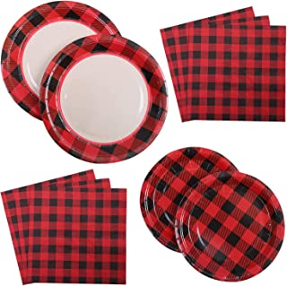Aneco 48 Pieces Red and Black Plaid Party Supplies Party Tableware Paper Plates and Napkins for 12 Guests
