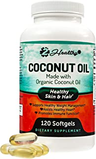 Organic Coconut Oil Capsules - Healthy Skin, Nails, Weight Loss, Hair Growth - Virgin, Cold Press, Non-GMO - Rich in MCT MCFA for Keto Diets - Support Brain Function, Blood Pressure, 120 Softgel Pills