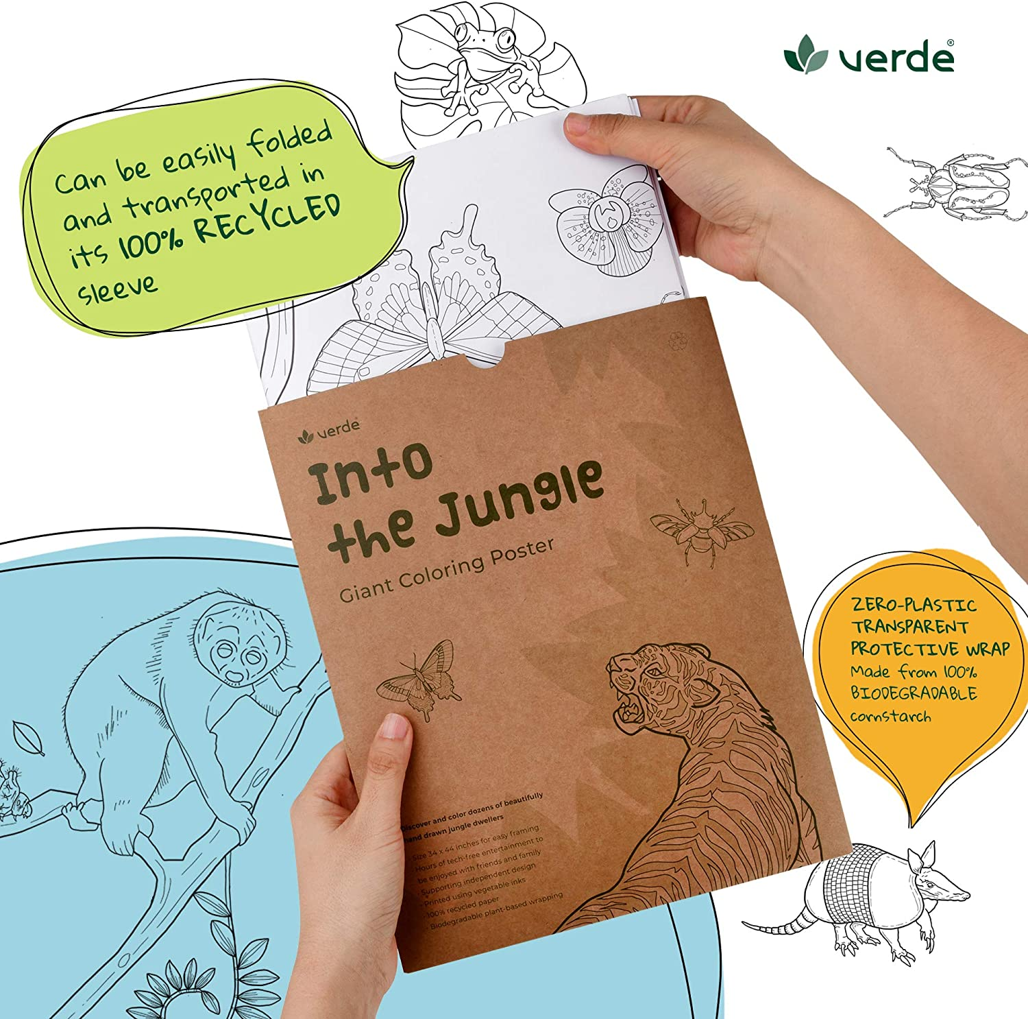Verde Into The Jungle Giant Eco Coloring Poster Biodegradable Protective Packaging Fun Recycled Jumbo Sheet for Kids and Adults USA Looks Beautiful in a Frame Huge Size for Wall or Table