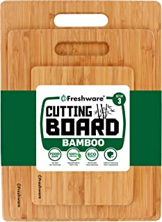 Cutting Boards for Kitchen [Bamboo, Set of 3] Eco-Friendly Wood Cutting Board for..