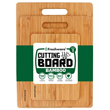 Cutting Boards for Kitchen [Bamboo, Set of 3] Eco-Friendly Wood Cutting Board for Chopping Meat, Vegetables, Fruits, Cheese, Knife Friendly Serving Tray with Handles, 100% Natural Bamboo