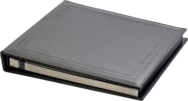 Red Co. Black Faux Leather Photo Album with Self Adhesive Black Sheets — Hold Up to 8x10 Prints