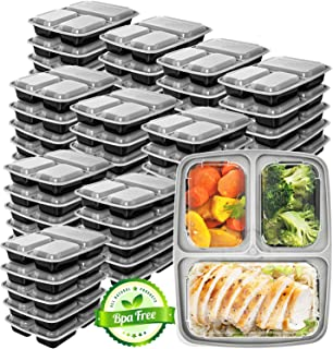 Meal Prep Containers 3 Compartment 45 Pack - Food Prep Containers Bento Box Bpa-Free Food Storage Containers with Lids - Lunch Containers Food Containers Reusable Meal Prep Containers by Prep Naturals