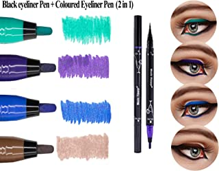 2 in 1 Waterproof Liquid Eyeliner - Smudge proof, Double Head Makeup Pen– Available in 4 Colors (Selected: Green+Black)
