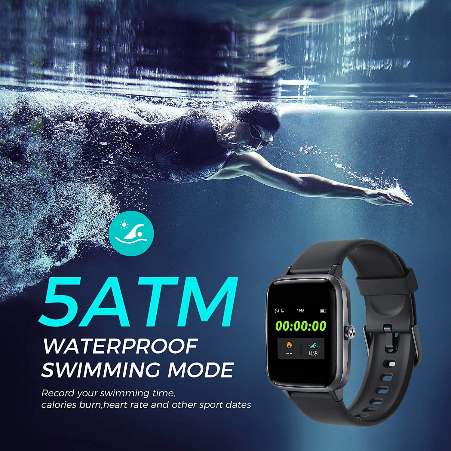 Full Touch Screen Fitness Watch,14 Sports Modes,5ATM Waterproof for Women Men Vigorun Smart Watch,Built-In GPS Fitness Tracker with All-Day Heart Rate and Activity Tracking Sleep Monitoring