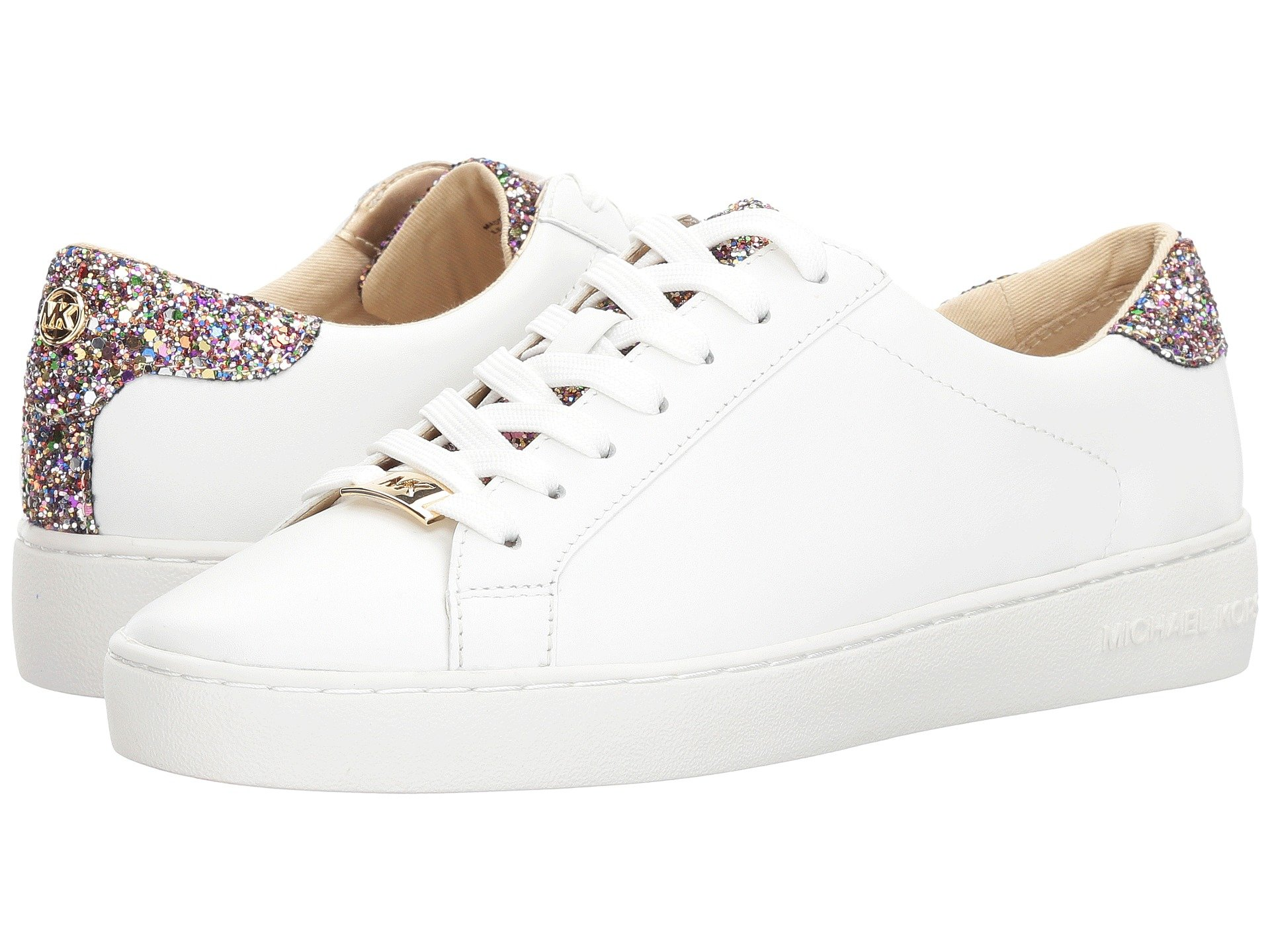 Michael Michael Kors Irving Lace Up In Optic White Multi Vachetta Chunky  Glitter 4a8c8d9de
