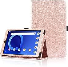 ACdream T-Mobile Alcatel Joy Tab 8/ Alcatel 3T 8 Tablet Case, Folio Premium PU Leather Cover Case for Alcatel Joy Tab 8/ Alcatel 3T 8 Tablet / Alcatel A30 8 Tablet, Rose Gold Glitter