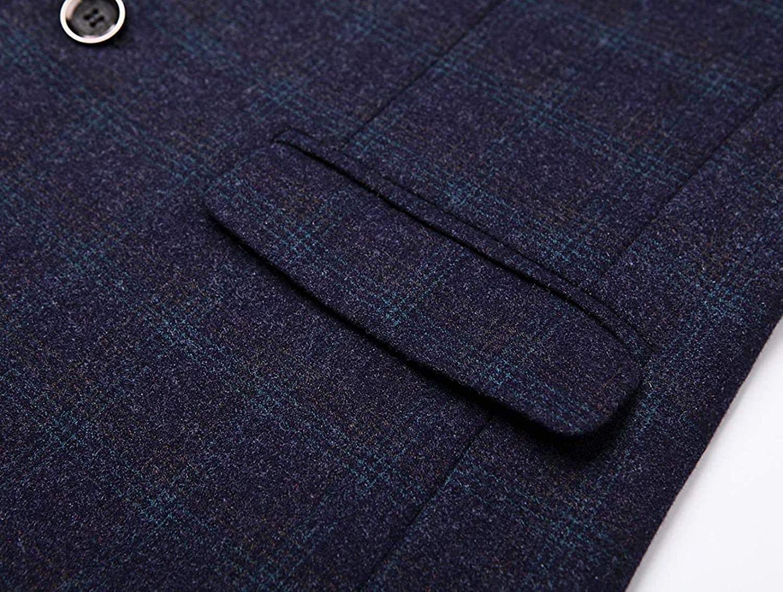 Men's Separate Suit Blazer 2 Button Plaid Tailored Midweight Woolen Sports Coat