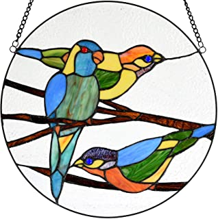 Bieye W10044 Tropical Birds on Branches Tiffany Style Stained Glass Window Panel Hangings with Chain, 16-inch Wide Round Shape, Blue