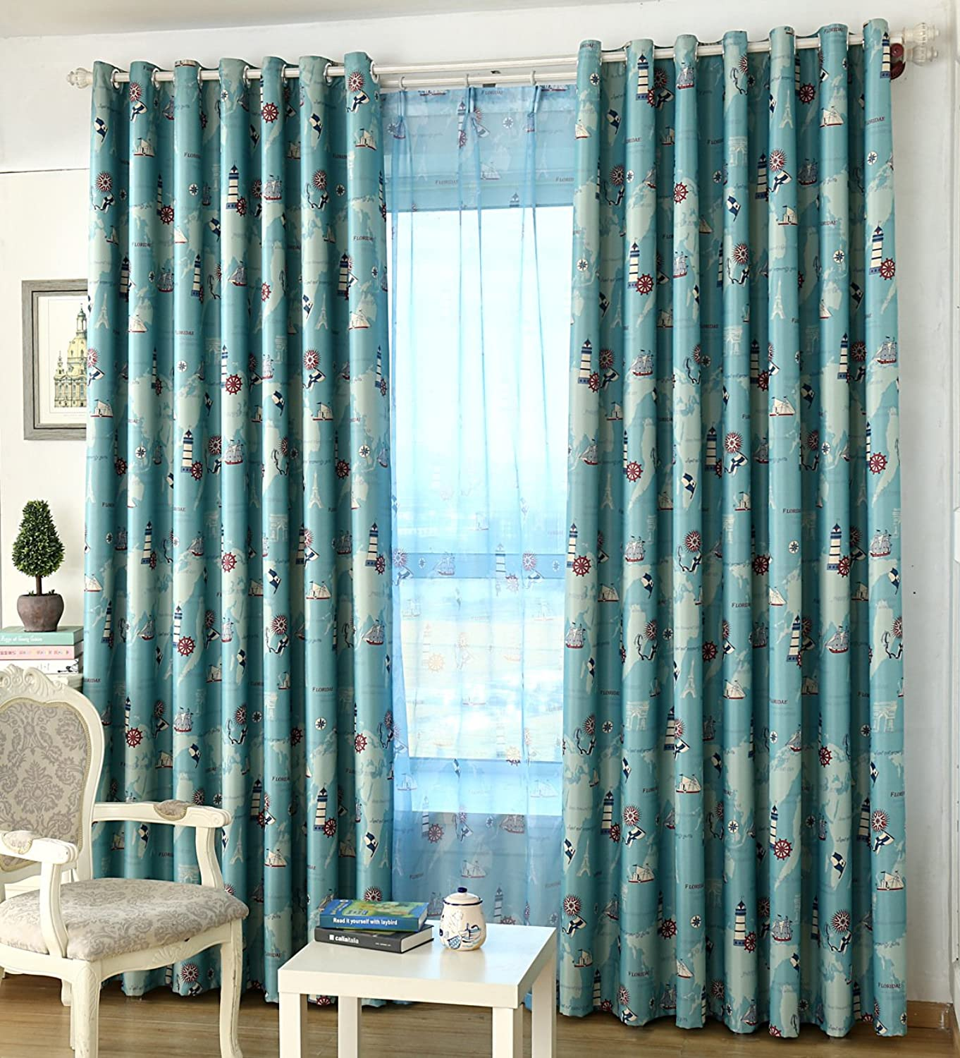 AliFish 1 Panel Nautical Curtains and Drapes Grommet Vessel Rudder Panel Kids Room Window Drapes Blackout Room Darkening Thermal Insulated for Boys Girls Berdoom for Living Room W75 x L84 inch