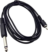 Haokiang 6Ft 6.35mm Mono 1/4 TS Male Plug to RCA Male Audio Cable Cord Wire for Mixer AV Amplifier (635M/RCAM)