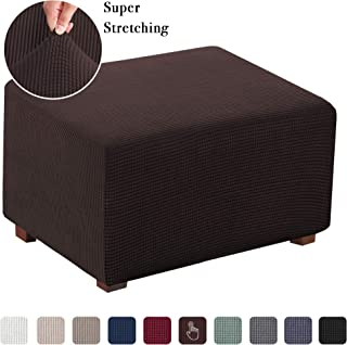 High Elasticity Furniture Protector Stretch Jacquard Universal Ottoman Cover, Easy Fitted Oversized Storage Ottoman Covers Slipcover (Oversized, Brown)