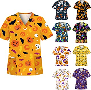 YOYHX Halloween Scrub_Tops for Women Short Sleeve V-Neck Cute Witch and Pumpkin Prints Holiday Tops Working Uniform