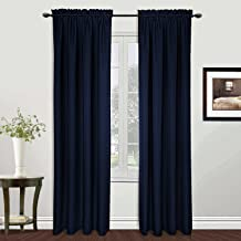 United Curtain Metro Woven Window Curtain Panel, 54 by 63-Inch, Navy