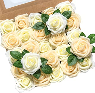 Ling's moment Artificial Flowers 50pcs Real Looking Ivory Cream Heirloom Roses w/Stem for DIY Wedding Bouquets Centerpieces Bridal Shower Party Home DecorationsRegular 3