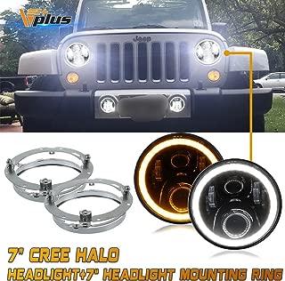 (4 Pcs) 7 Inch Round LED Headlights White Halo Ring Angel Eyes+Amber Turning Signal Lights + High Low Beam & 7
