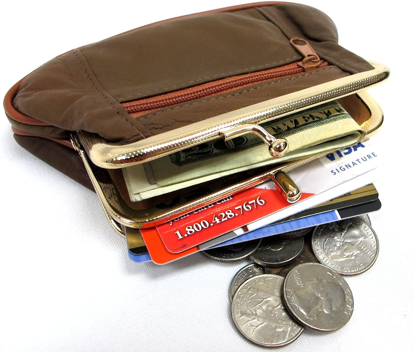 Soft Lambskin Leather Double Snap + Coin Two Purse OFFicial site 2pc At the price of surprise Se Zipper