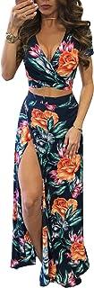 Dresses for Women Casual Summer Sexy Deep V Split Flower...