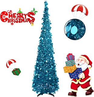 Collapsible Christmas Trees 6 Foot Artificial Tinsel Xmas Tree, Pop Up Multicolored Pencil Sequin Coastal for Holiday, Apartment, Party, Home, Office, Christmas Decorations, Fireplace–Blue