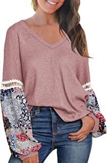 MIHOLL Women's Casual Tops Printed Long Sleeve V Neck T Shirts Loose Pullover Sweater