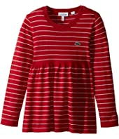 Lacoste Kids Long Sleeve Stripe with Peplum Sweater (Toddler/Little Kids/Big Kids)