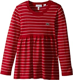 Lacoste Kids - Long Sleeve Stripe with Peplum Sweater (Toddler/Little Kids/Big Kids)