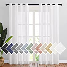 NICETOWN Sheer White Window Curtains Linen Textured 84 inch Length, Grommet Semitransparent Balance Privacy & Light Vertical Flax Sheer Drapes for Bedroom/Living Room, W52 x L84, 2 Panels