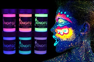 Midnight Glo Metallic Body Paint Face Makeup Body Shimmer Black Light Reactive Made In USA (6 Bottles 0.75 oz Each), Washable, Glows with Blacklight